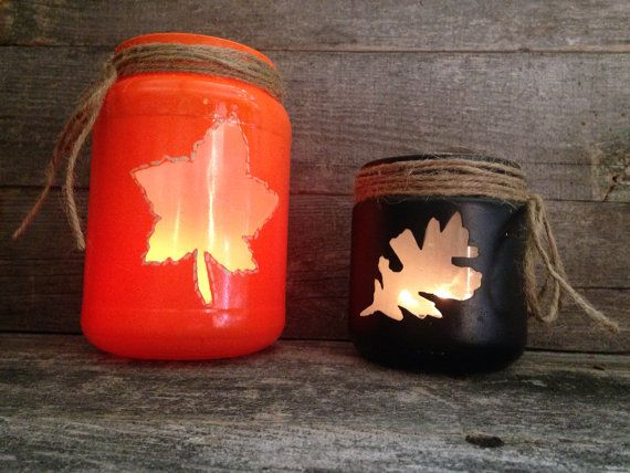 Set of Two Fall Leaves Glass Candle Holders  by OkieDokieCrafts
