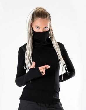 Cyberpunk sweater with long sleeves thumb holes. Edgy and unique design inspired by Sci Fi. This jumper is so comfortable you will want to live inside. Not only sleeves have thumbholes, but also, the cuff is made narrow so it would hug the arms while thumbholes are used and didn't slip down if you put sleeves in the regular mode. MKEY FEATURES– 3D mesh fabric – for an edgy look;– Qualitative dense jersey fabric.– Labels are sewn on separately so you can remove it without damaging the g...