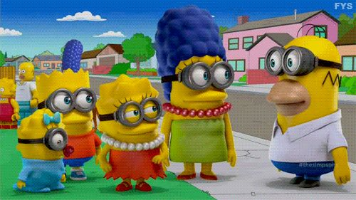 The Simpsons as minions gif