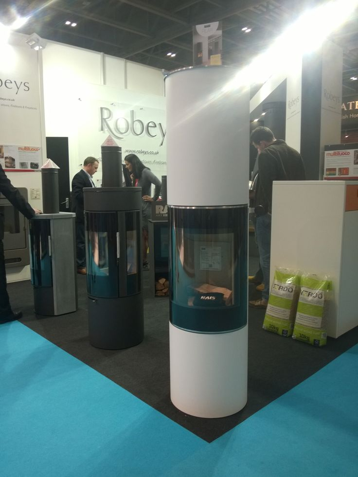 The all new Rais Pilar Wood Stove in white on display with Robeys at EcoBuild. This stove has no air controls as it automatically adjusts how much air is required for the optimum burn!
