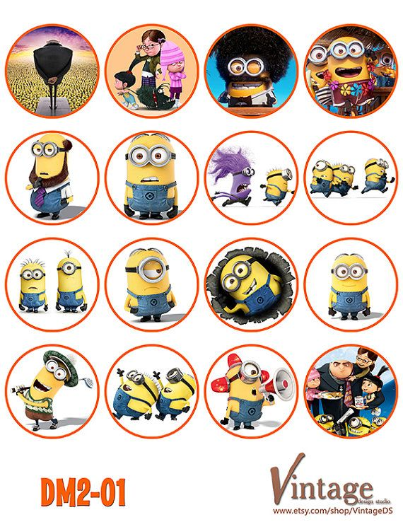 Despicable me Minion Birthday party Cupcake Toppers Images 2 inch digital file girl boy Printable DIY Gru Lucy Margo Agnes Edith on Etsy, $5.99