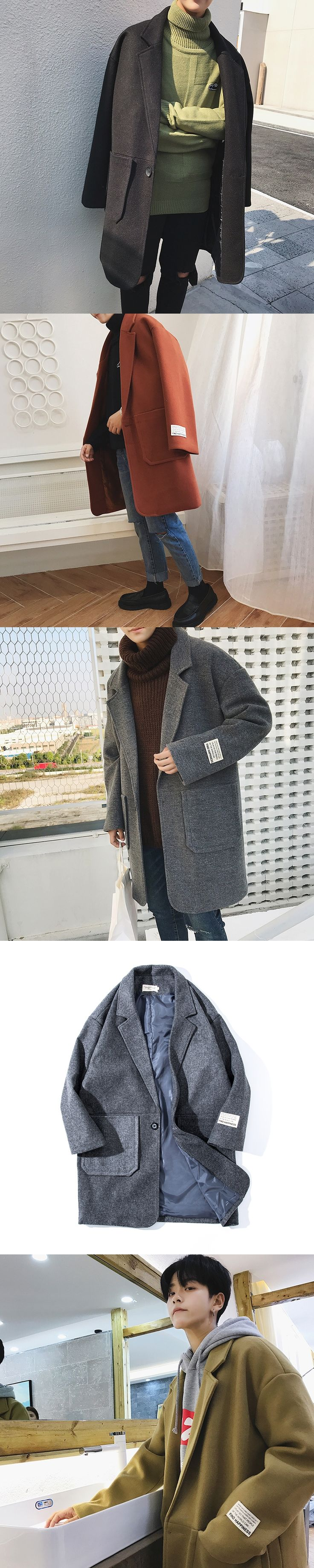 2017 Winter Korea Style Men's Long Outwear Woollen Blends High-Grade Fabric Snow Jackets Casual Outcoat in Warm Windbreaker S-XL