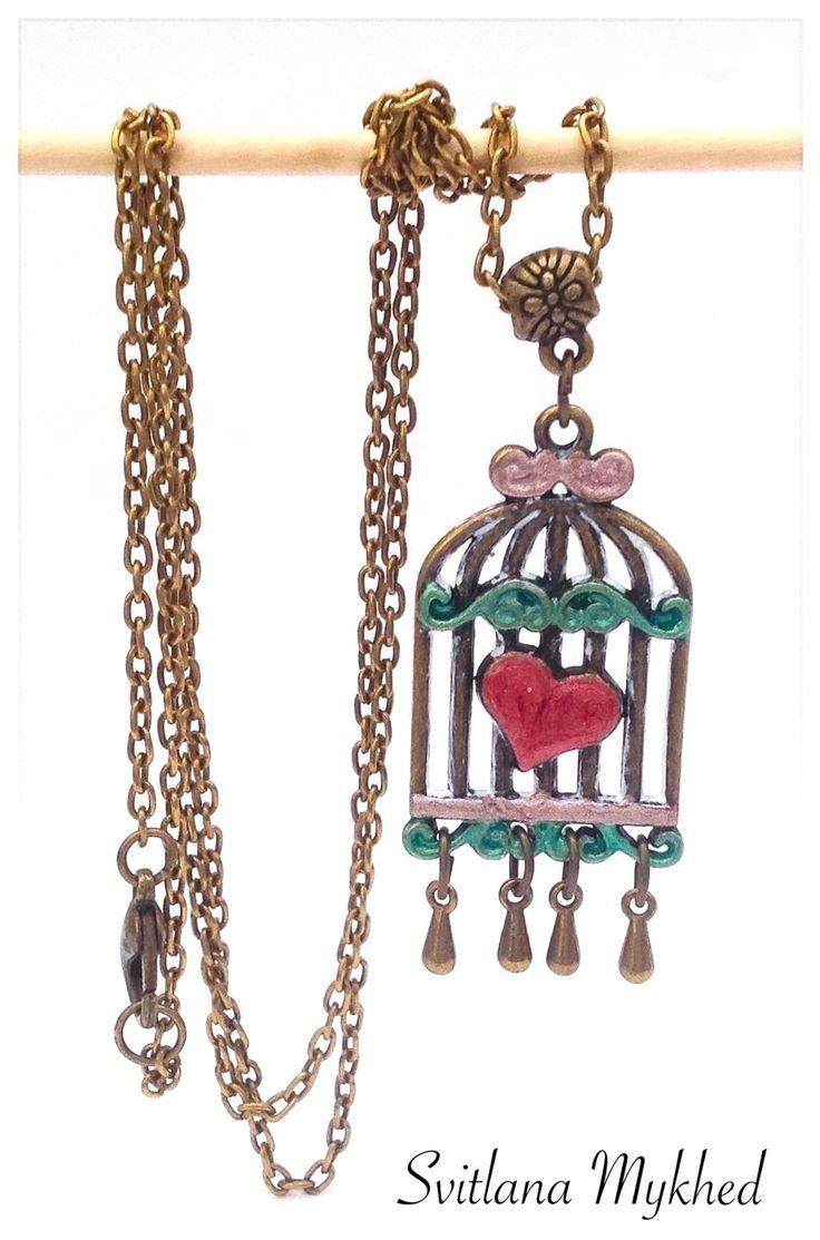 """Collier """"Cage. Coeur. Amour"""". Création unique : Collier par perles-et-couronnes"""