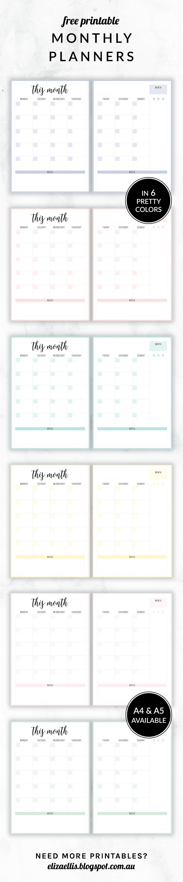 Free Printable Irma Monthly Planners by Eliza Ellis available in A4 and A5 sizes, as well as 6 pretty color themes! Shown here in the color Happy.