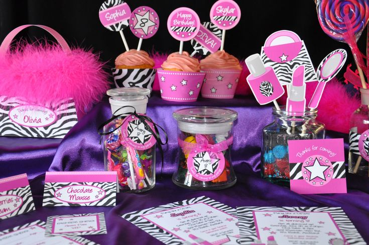 Diva Glam Spa Party HOT PINK zebra print pdf by GlitterInkDesigns, $25.00