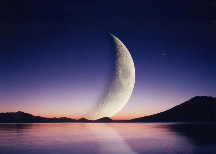 Moon over Lake Shikotsu in Hokkaido.  Compound Photograph.  by Yoshiski Tasaka.