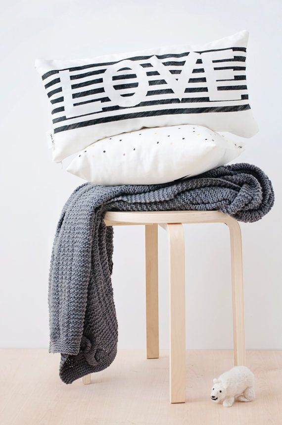 Best Valentines Gift!! Soft black and white love pillow, minimalist and modern design, also great as wedding and anniversary gift. LOVE pillow is a