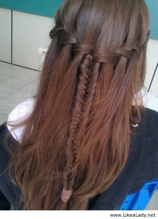 Waterfall braid and fishtail braid