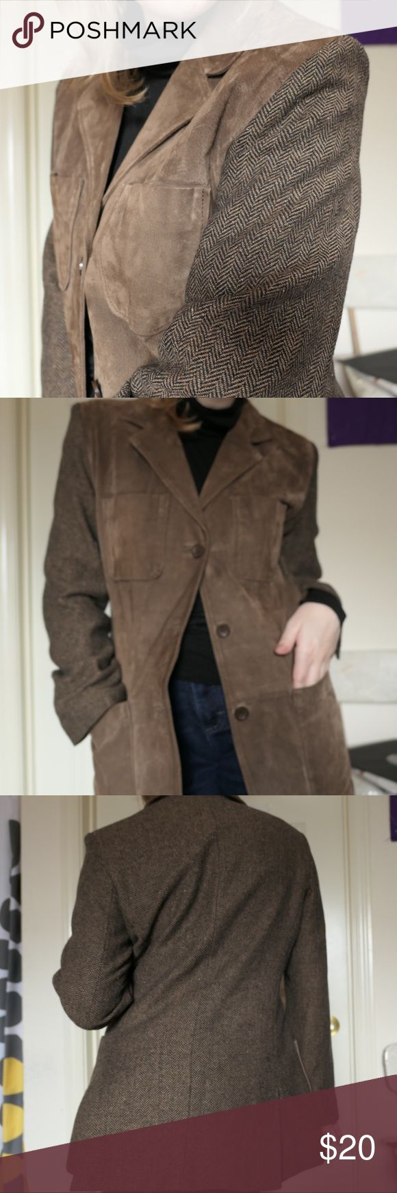 Leather and wool blend herringbone jacket Leather and wool-blend herringbone jacket. An interesting piece.   In good condition. Labeled as a size small. Fits a size small.   Tags: #herringbone #wool #leather #blazer #jacket #menswear Jackets & Coats