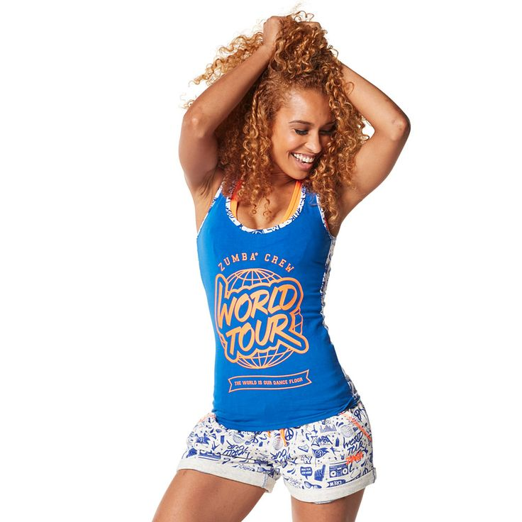 CITY SWAG RACERBACK - SURFS UP BLUE ---------------- Conquer the Concrete Jungle in the City Swag Racerback.  With an all over graffiti-inspired print on the back and the World Tour logo on the front, this top will be the talk of the town. Zumba Tank.