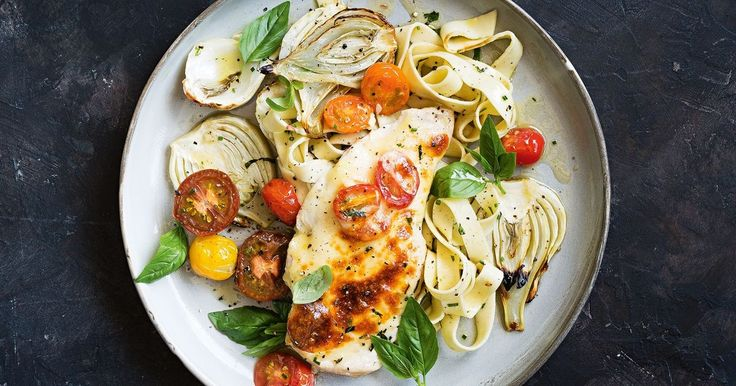 For a quick and easy midweek meal, try this cheesy tray-baked chicken with herb pasta and baked fennel.