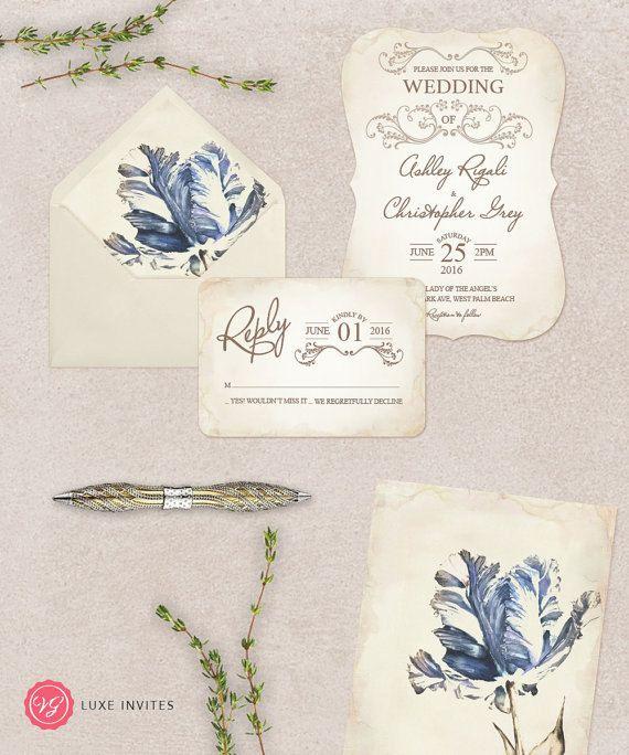 Beige and Blue Wedding Invitation Set  Blue Floral by VGInvites