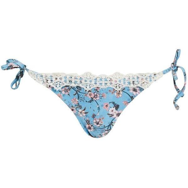 Topshop Ditsy Lace Trim Tie Side Bikini Bottoms (62 BRL) ❤ liked on Polyvore featuring swimwear, bikinis, bikini bottoms, blue, bottom bikini, side tie bikini bottom, blue bikini bottoms, topshop bikini and blue swimwear