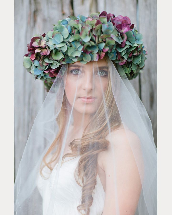 Hydrangea crown with a veil | Mon Cheri Bridals