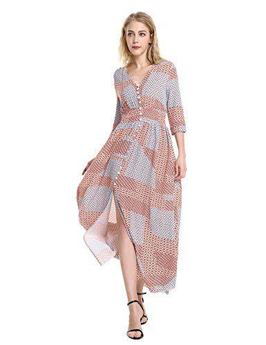 9dd88b2bb9883 ZAN.STYLE Femme Robe de Plage Floral Robe Été Chic Robe Bohème ...