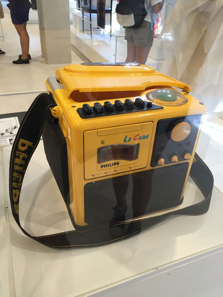 This shows the Philips Le Cube Portable Radio Cassette Recorder, designed in Singapore doing the 1980's.Principle of Design: Contrast, between the black and Yellow in the recorder.