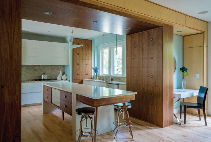Floor damage from a leaky refrigerator finally prompted architect Steve Kemp to gut and renovate his own family's outdated Smyrna kitchen. His goal was to blend midcentury influences with contemporary flourishes to match his home's urban aesthetic.