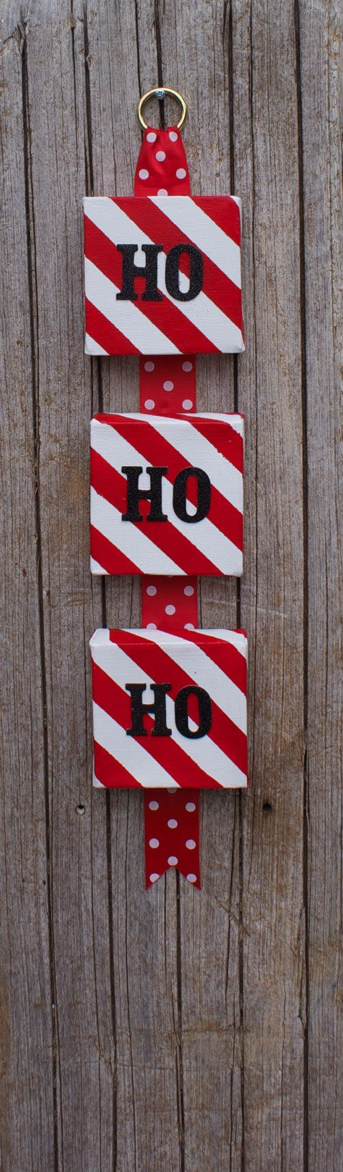 HoHoHo Stripes Canvas Hanging by 3GirlsandaKiln on Etsy, $30.00