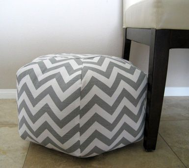 easy DIY... 'poofs' -love this-  Cover red poofs in this chevron