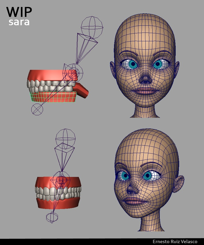 WIP - AnimSchool Project - Character Dev: Sara by Ernesto Ruiz Velasco, via Behance