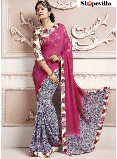 Pink Weightless Spray Print Saree-TM-243
