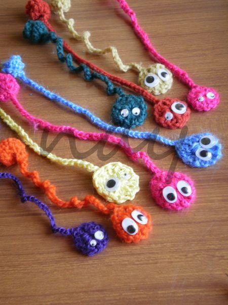 Cute Colorful Crochet Worm Bookmark BM1 from nay handmade by DaWanda.com