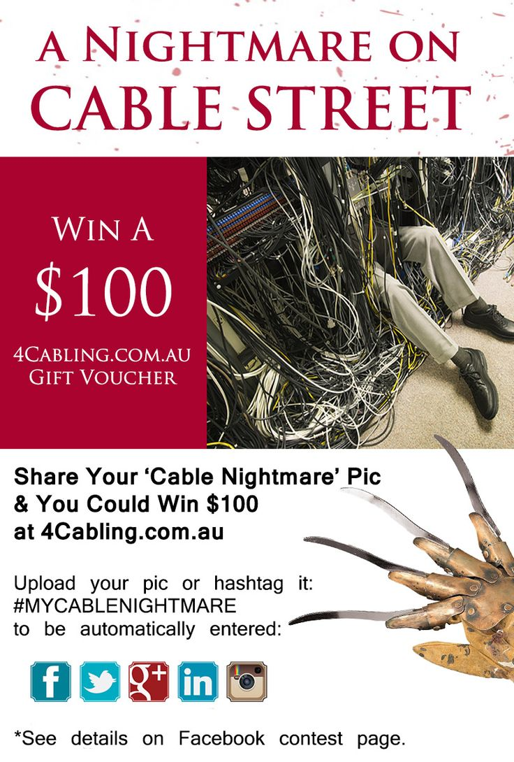 In the spirit of Halloween, we want to see your 'cable nightmare' - at work, at home, at your mates house! Upload your pic or hashtag it with #mycablenightmare and you could win $100 towards cable management gear from 4cabling.com.au Enter here: http://woobox.com/x9tqza