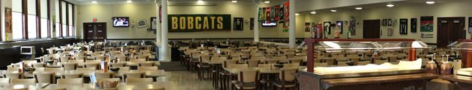 "BOYD DINING HALL is located on the West Green on the ground floor of Boyd Residence Hall. The venue features Ohio University sports memorabilia and offers popular items such as burritos, wraps, pastas, a deli station, and a salad bar. The venue also offers ""to-go"" options, a Grab N Go and a Campus Market."