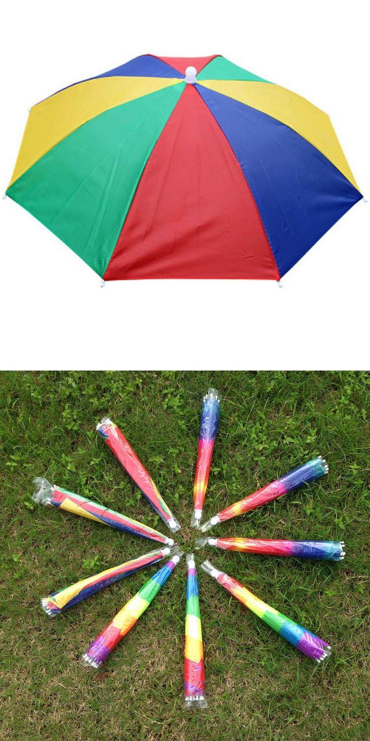 [Visit to Buy] Umbrella Hat Sun Shade Camping Fishing Hiking Festivals Outdoor Hands Free Parasol Umbrella Hat Cap with Elastic Head Band #Advertisement