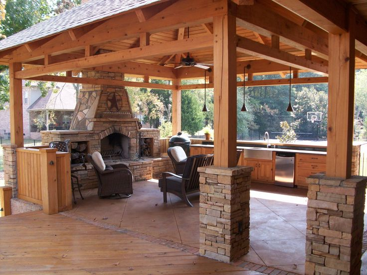 Rustic pavilion plans fireplace cypress timber frame for Outdoor gazebo plans with fireplace