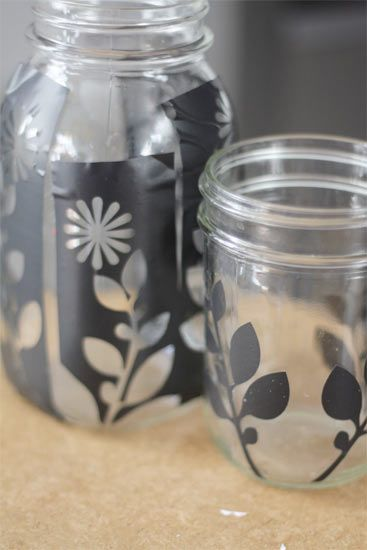 Etched glass jars
