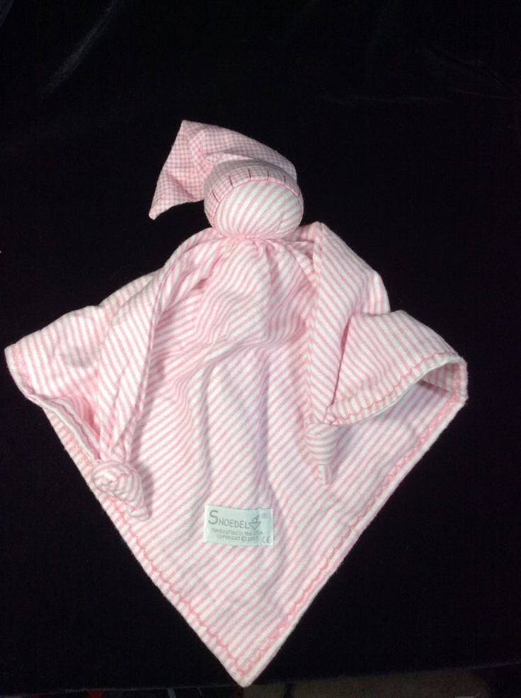 Snoedel Pink White Striped Flannel Knots Security Baby