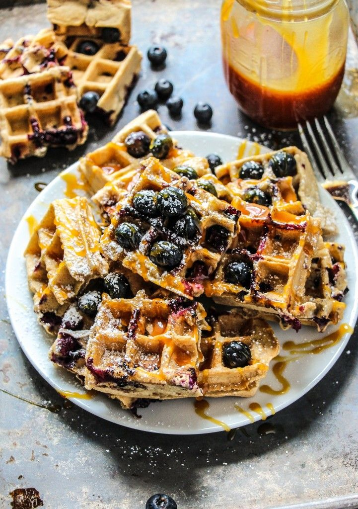 Homemade Browned Butter Blueberry Waffles. - Layers of Happiness #ad