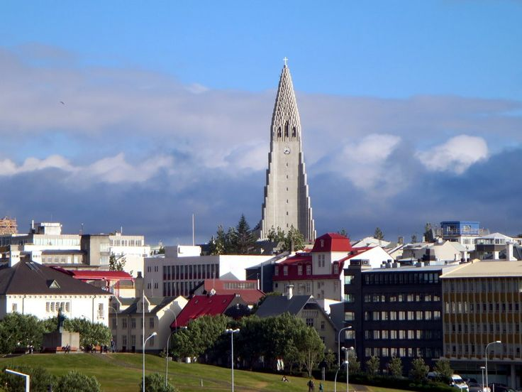 The 75-meter tower of the Hallgrimskirkja rises above Reykjavik, Iceland.