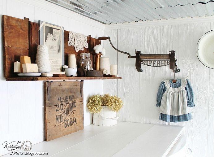 Farmhouse Laundry Room:  Spoon, doily, soap, little dress..... love it