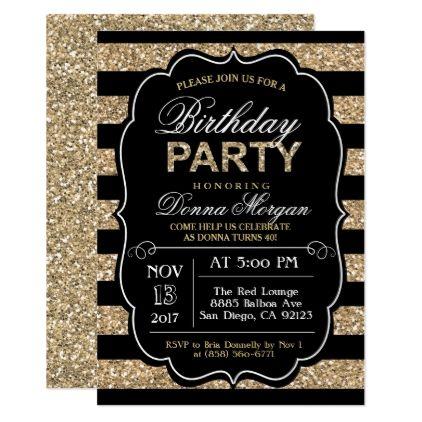 ANY AGE - Birthday Party Glitter Invitation - giftidea gift present idea number thirty thirtieth bday birthday 30thbirthday party anniversary 30th