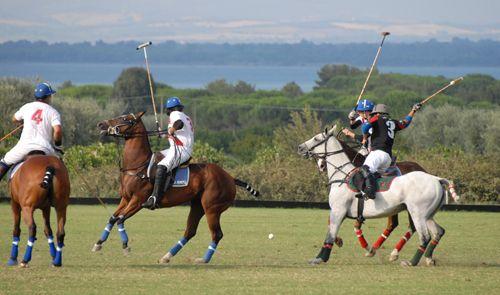 A match of Polo at the Argentario Polo Club, Monte Argentario, Costa d'Argento, Maremma, Tuscany, Italy