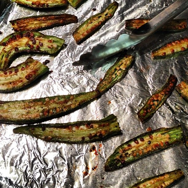 SnapWidget | Roasted okra. Crispy and no slime. Preheat oven to 450 degrees. Wash and thoroughly dry fresh okra. Trim and split in half. Toss with olive oil and spread on a baking sheet. Sprinkle with salt and pepper. Roast for about 20 min flipping halfway through. #freerecipe #recipe #vegan #vegetarian #glutenfree #organic #healthy #garden #vegetables #fresh