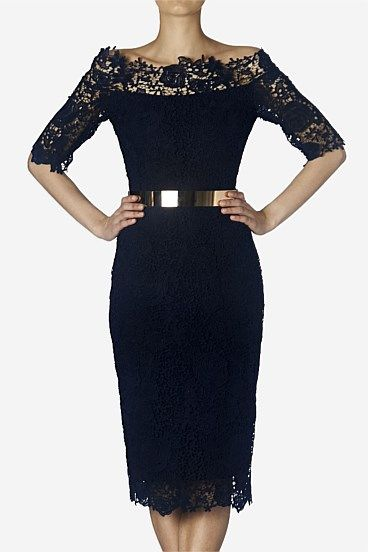 Short Dresses - Indigo Lace Viola Dress.  this is it.  the dress I will buy for the dinner.  so very elegant.  Carla Zampatti.