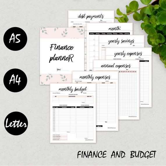 Financial Planner, Finance Organizer, Budget Planner, Yearly Expenses, A5, A4, Letter, Savings, Debt, Monthly Expense Tracker, PRINTABLE PDF