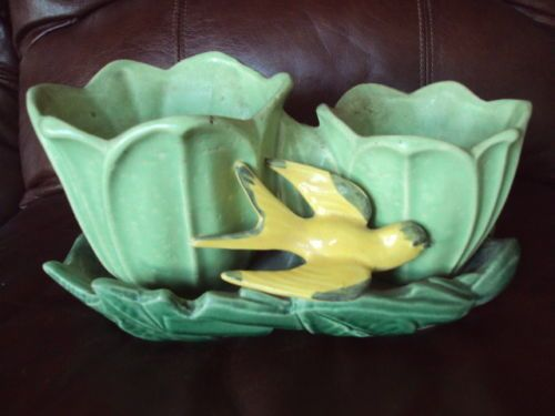 Vintage McCoy Green Tulip Double Planter w/ Bird | Pottery & Glass, Pottery & China, Art Pottery | eBay!