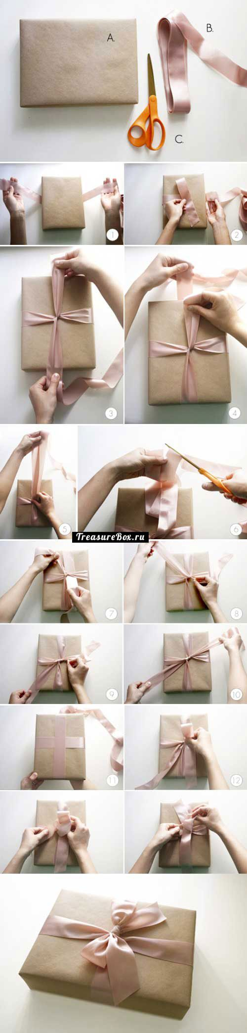 как завязать бант на подарок