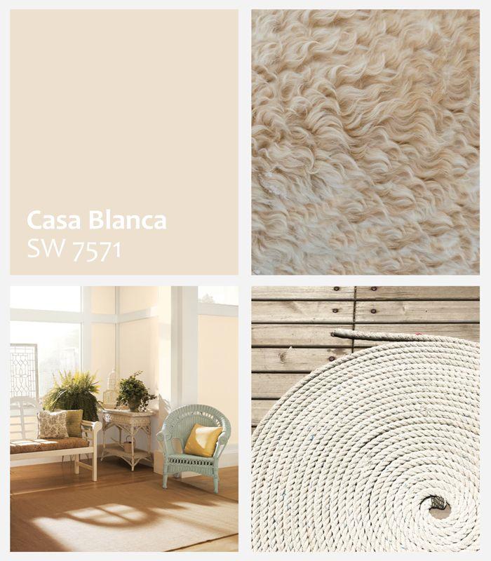 Casa Blanca SW 7571 é a cor de Novembro Sherwin-Williams. Um tom neutro, clássico e atemporal que traz a sensação de conforto e tranquilidade.