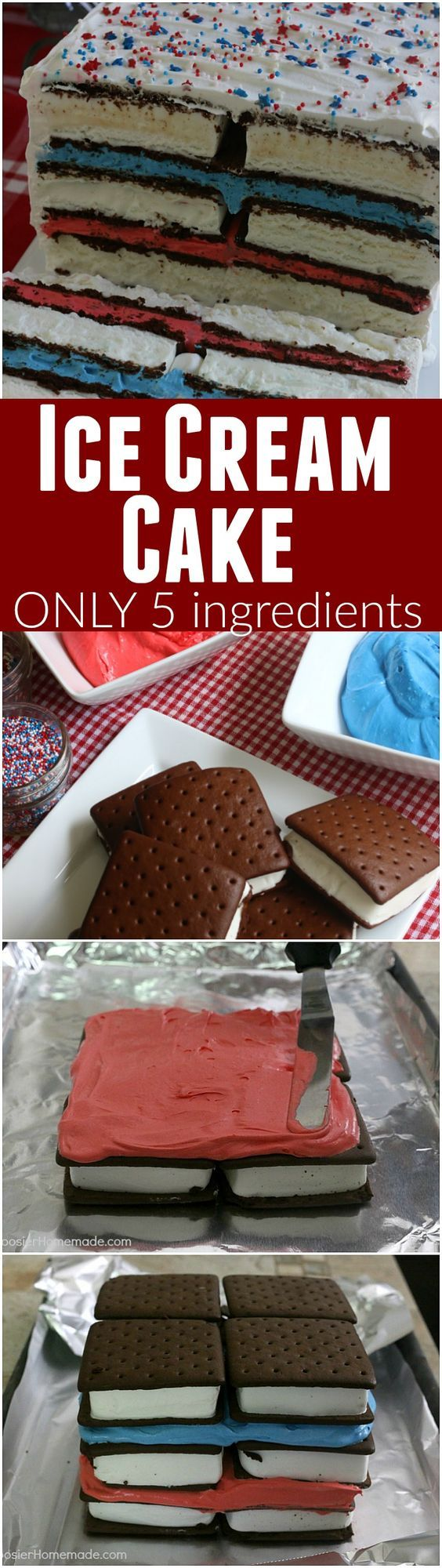Ice Cream Sandwiches Cake -- this fun red, white and blue ice cream sandwiches cake is super easy and really fun for your 4th of July Celebrations! Just 5 simple ingredients and you have a show-stopping dessert!