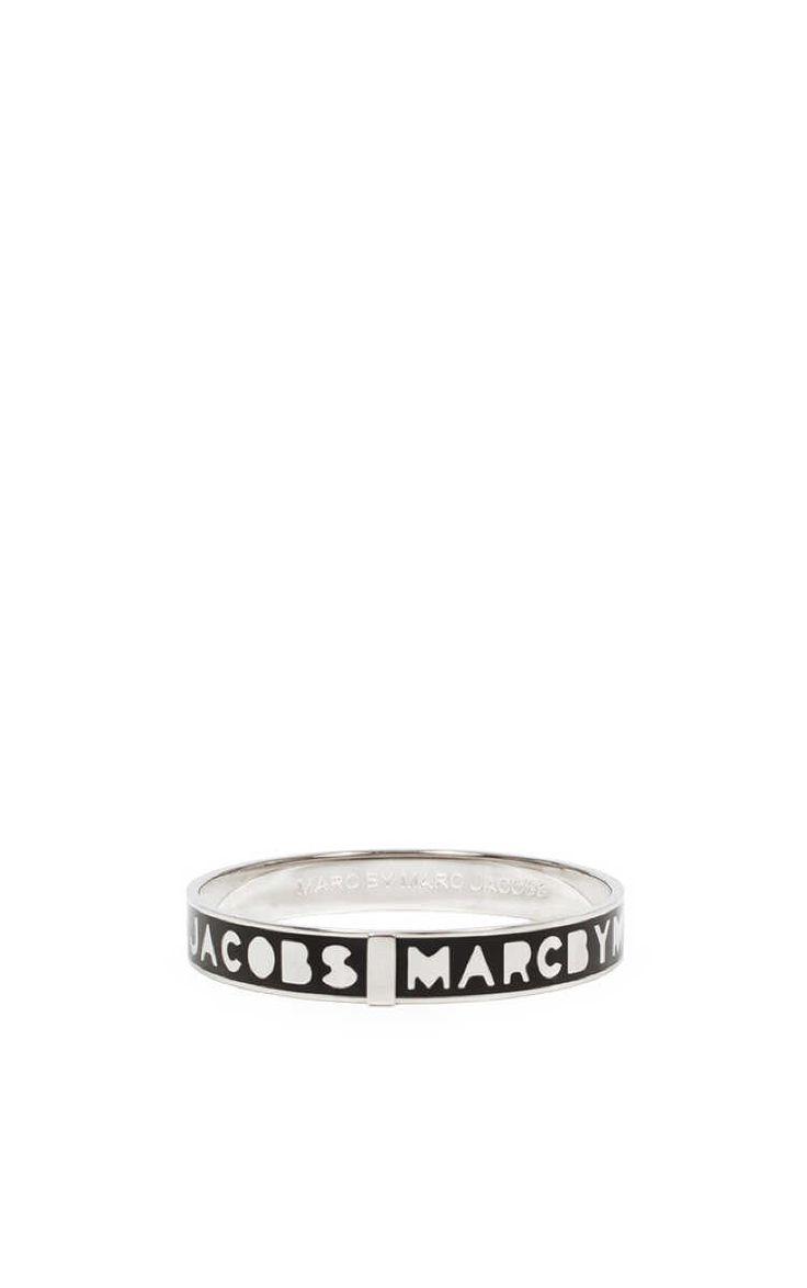 Armband Logo Bangle BLACK/SILVER - Marc by Marc Jacobs - Designers - Raglady