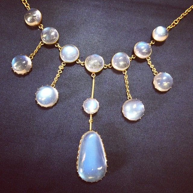 There's little more beautiful than the flood of adularescence across a moonstone, those silken silvery-blue glows, like a sunrise across the landscape, makes lot 1 in our May Antique and Modern Jewellery sale a gem of a lot!  #moonstone #adularescence #Edwardian #Fellows #Antique#Jewellery #Jewelry #Auction #sale #beauty #necklace