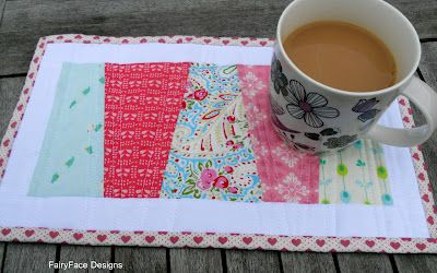 """Materials Required: 5 coordinating scraps of fabric at least 4"""" x 6"""" and a large scrap/ Fat Eighth of solid fabric for borders.  Fabric ..."""