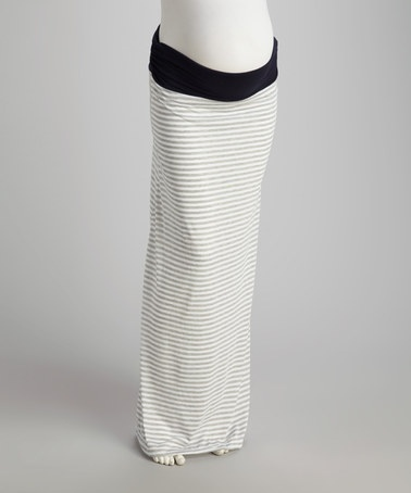 White & Gray Stripe Over-Belly Convertible Maternity Maxi Skirt by Cant Wait Maternity on #zulily