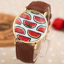 Eletrônico 2014 Novos Chegada moda Geléia de Fruta Melancia Relógio De Quartzo Das Mulheres de Couro Charme Dress Watch #2 DW 018