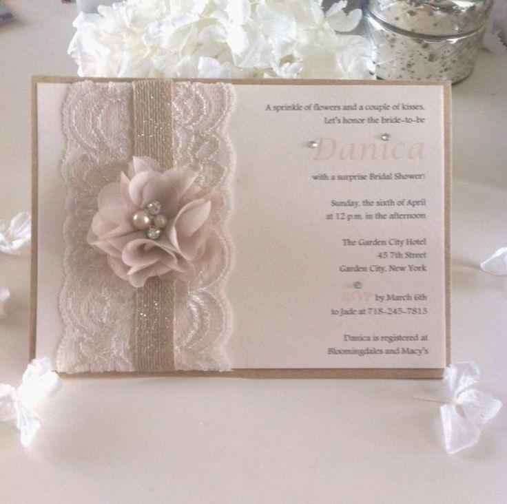 Lace Burlap Kraft Rustic Garden Blush Bridal Shower Invitation | eBay